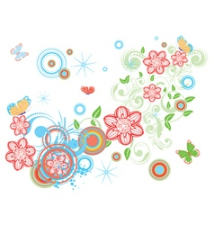 Vintage Floral with Butterflies2 vector