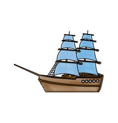vintage sailing ship travel adventure nautical vector image