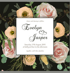wedding floral invitation invite card with vector image