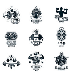 Weightlifting theme logotypes and inspirational vector