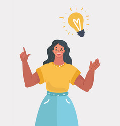 woman idea bulb vector image