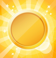 Yellow bright background with gold medal vector