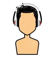 young man shirtless with earphones avatar vector image