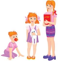 cartoon of growing girls vector image