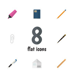 Flat icon stationery set of nib pen drawing tool vector