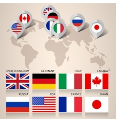 Set of G8 flags with map vector image