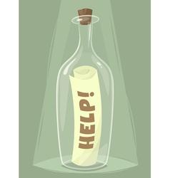 Bottle of help vector