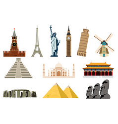 Famous world landmarks travel and tourism vector