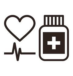 Medicine heart and ecg symbol vector image vector image