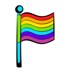 rainbow flag icon icon cartoon vector image vector image