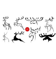 set of black images of moose and deer abstract vector image