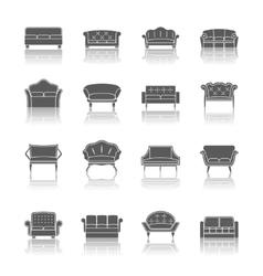 Sofa icon black vector image