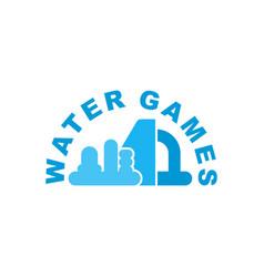 Water games logo emblem for inflatable park vector