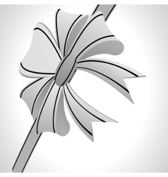 white bow on a white background vector image vector image