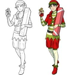 Christmas elf Asian boy with gift vector image