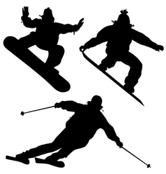 Collection Snowboarders And A Skier vector image