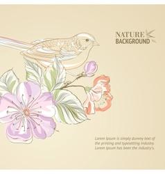 Hand drawn bird on sacura branch vector image vector image