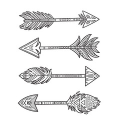 Ink native american indian arrows in ethnic style vector