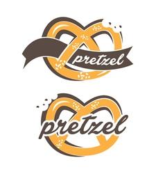 pretzel label with text vector image