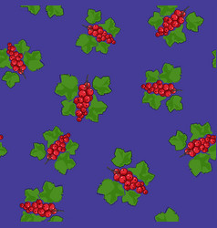 seamless pattern redcurrant on purple background vector image vector image