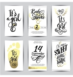 watercolor sticker with gold foil vector image vector image