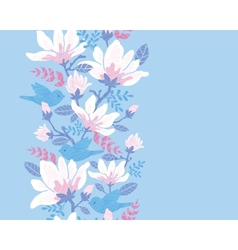 Birds among blossoms vertical seamless pattern vector image