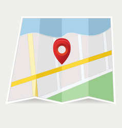 Map with pin on grey vector