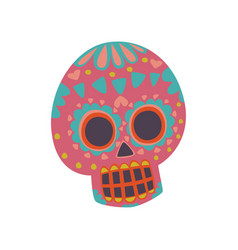 mexican sugar skull with pattern dia de muertos vector image