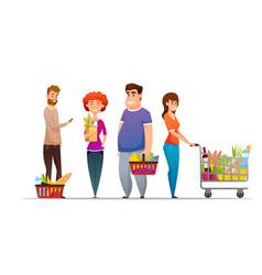 supermarket shopping characters set vector image