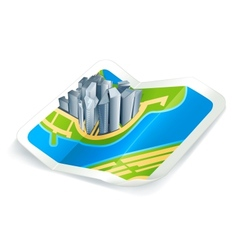 Town on the map icon vector image vector image