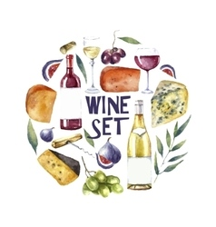 Watercolor wine set round card background vector