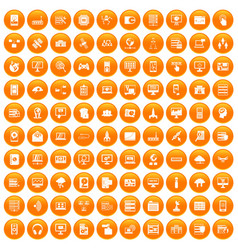 100 database and cloud icons set orange vector
