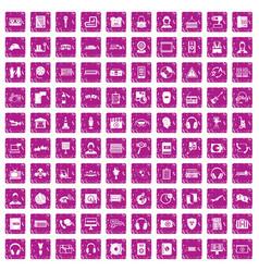 100 headphones icons set grunge pink vector