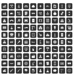 100 plant icons set black vector