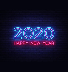 2020 happy new year neon text 2020 new year vector