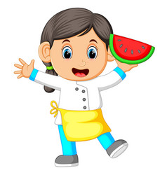 a female chef holding watermelon vector image