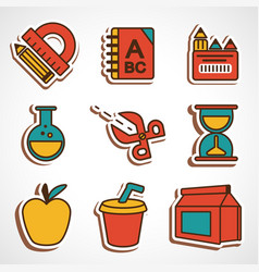A set of colored school icons vector