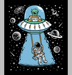 Astronaut and alien playing together vector