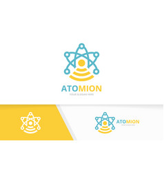 atom and wifi logo combination molecule vector image