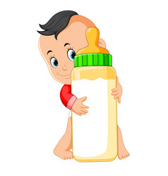 baby happy playing and hug the milk bottle vector image