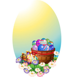 background template with easter eggs in basket vector image