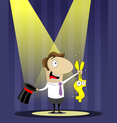 Banker as magician pulls a rabbit out of hat vector