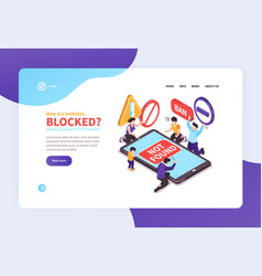 Banned website landing page vector