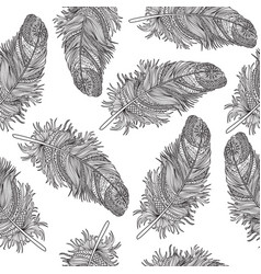 birds feather ornamental seamless pattern vector image