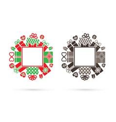 border frame gift box set with bow square shape vector image