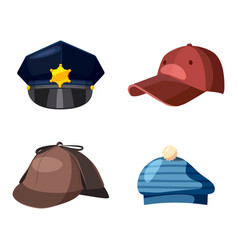Cap icon set cartoon style vector