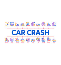 Car crash accident minimal infographic banner vector