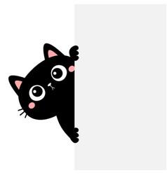cat kitten holding big empty signboard cute vector image