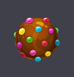 chocolate round candy pops sprinkle candy bomb vector image