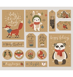 Christmas gift tags set hand drawn style vector image vector image